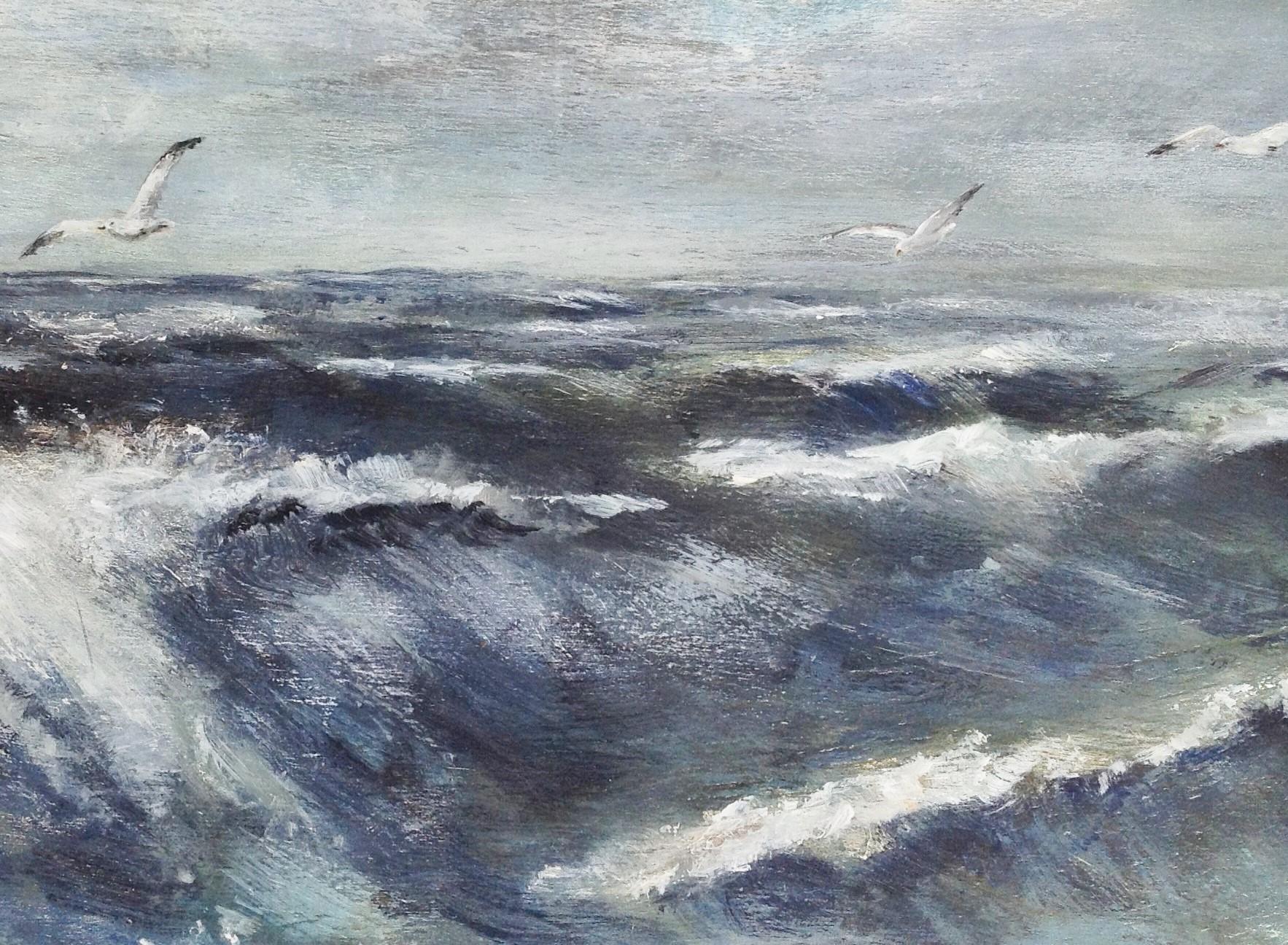 Zee met golven en meeuwen