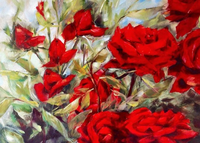 Schilderij-rozen-olieverf-acrylverf
