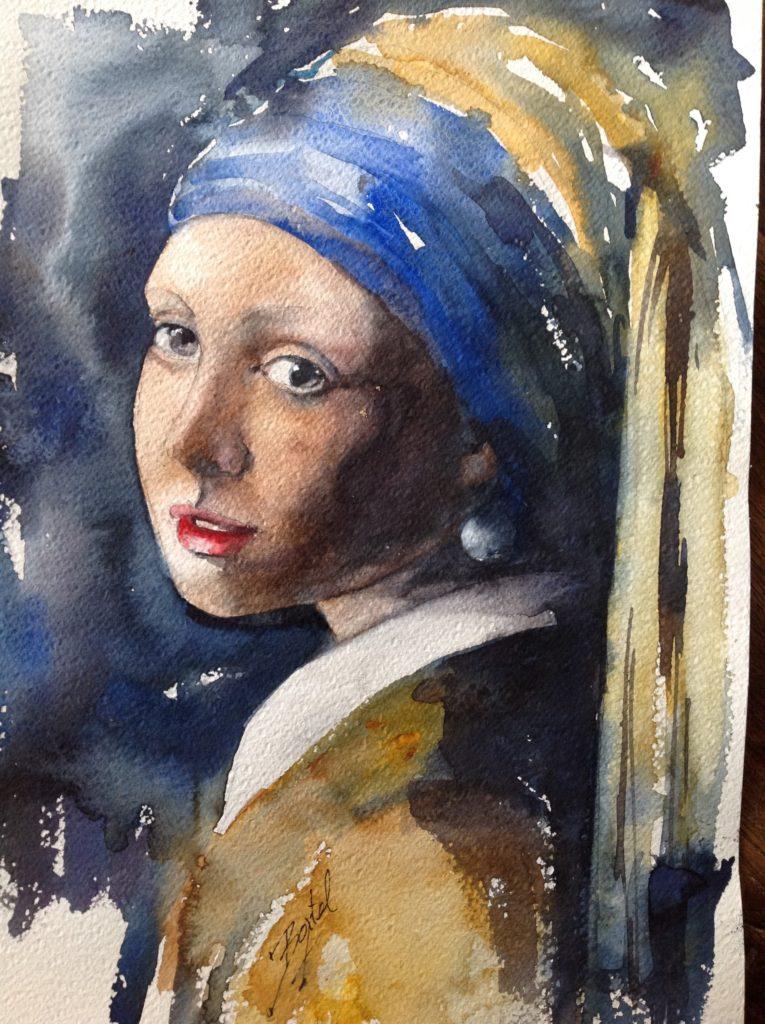 Meisje met de parel in aquarel