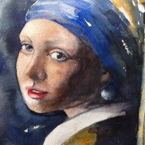 """Portret in Aquarel in de """"Wouwer"""""""