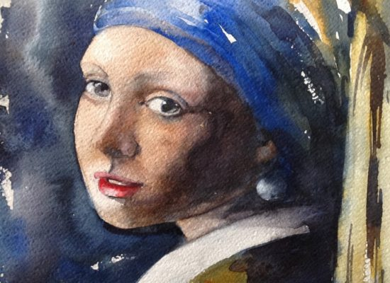 Meisje met de parel in aquarel.