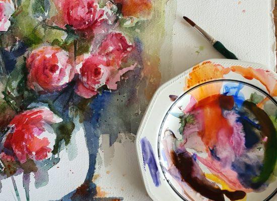 aquarel rozen