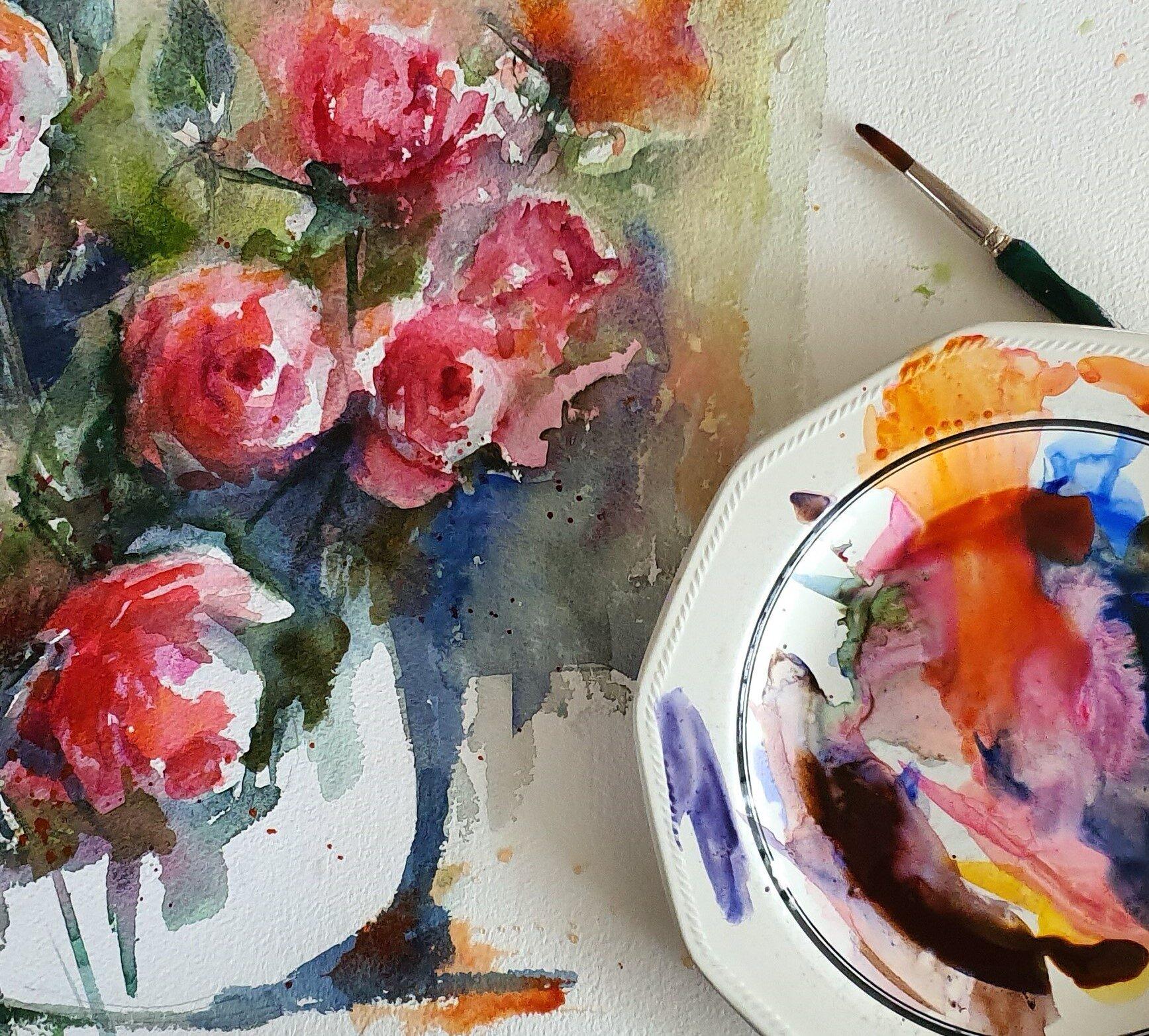 aquarel-rozen