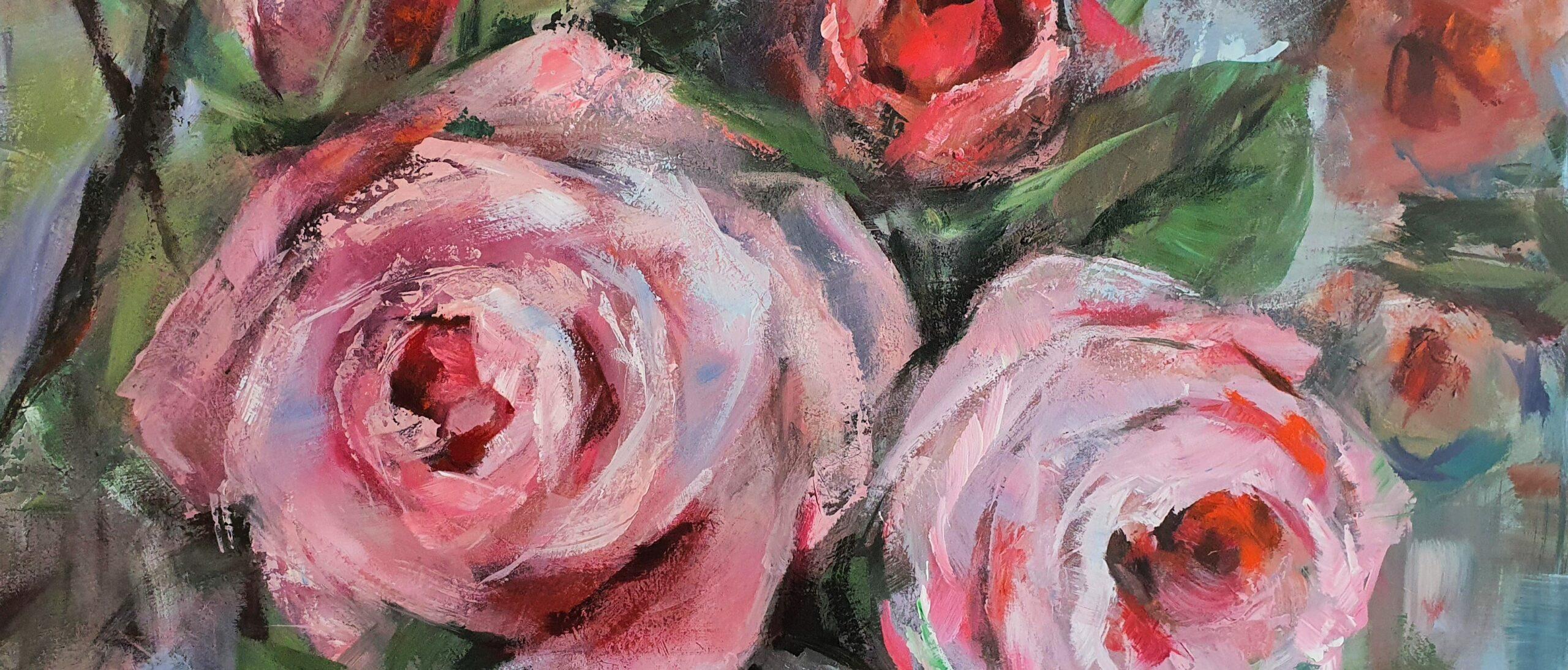 Schilderij-rozen-rood-roze